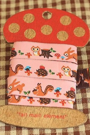 Photo1: Woven Jacquard Trim Ribbon - Pink Forest