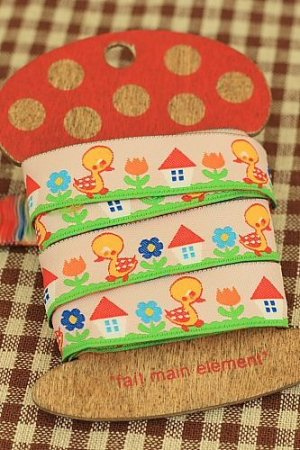 Photo1: Woven Jacquard Trim Ribbon - Little Ducks