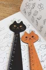 Kawaii Japanese Zakka Wooden Centimeter Ruler - Little Cat