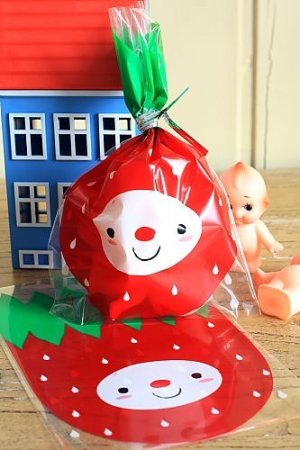 Photo1: Kawaii Gift Wrapping Candy Bag - Little Strawberry (10p)