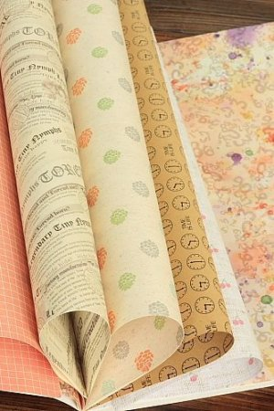 Photo3: Vintage Style Gift Wrapping Paper Book
