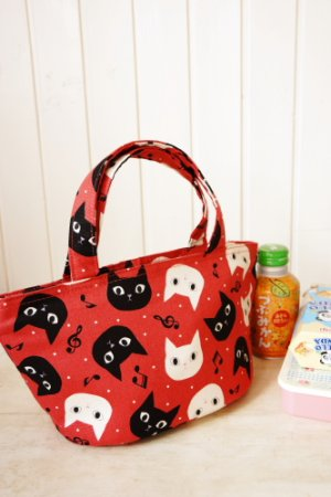 Photo1: Free Shipping Insulated Lunch Bag Tote by Kawaii Japanese Kokka Fabric