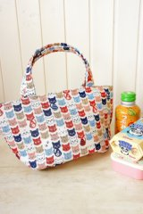 Free Shipping Insulated Lunch Bag Tote by Kawaii Japanese Kokka Fabric