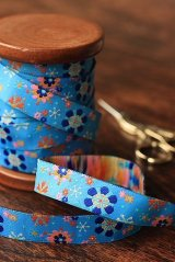 1.6cm x 5 Yards - kawaii Woven Jacquard Trim Ribbon - Blue Flowers