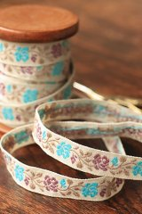 Cotton Woven Jacquard Trim Ribbon - Flowers