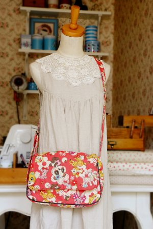 Photo1: Kawaii Cute Handmade Messenger Bag by Kawaii Japanese Kokka Fabric