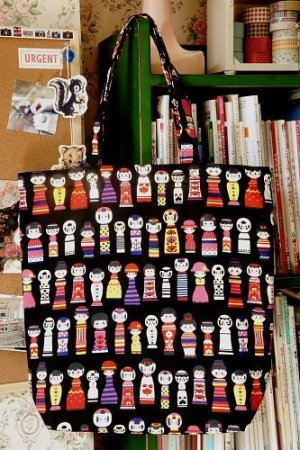 Photo1: Free Shipping Handmade ECO-Friendly Shopping Bag Tote - Japanese Kokeshi Doll