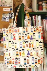 Free Shipping Handmade ECO-Friendly Shopping Bag Tote - Japanese Kokeshi Doll