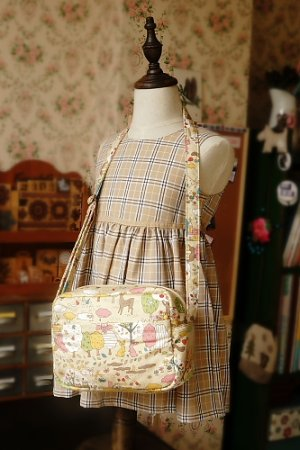 Photo1: Free Shipping Cute Handmade Japanese Kokka Fabric Shoulder Outdoor Women Bag - Forest