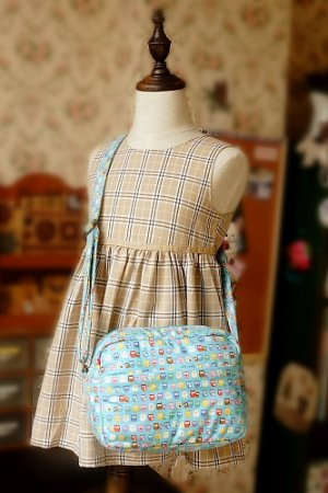 Photo1: Free Shipping Cute Handmade Japanese Kokka Fabric Shoulder Kids Bag - Little Owls