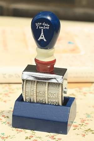 Photo1: Antique Style Wooden Roller Date Stamp with Stand