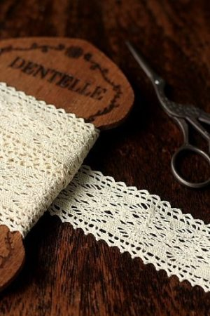Photo1: Cotton Lace Ribbon - 3.6cm x 1 Yard