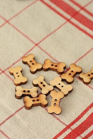 Photo1: Natural Wooden Button Set - 10p