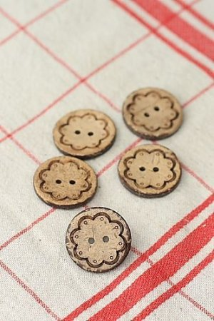 Photo1: Natural Coconut Shell Button - 5p
