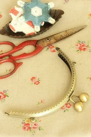 "Photo1: Antique Brass Purse Frame Kisslock with Hoops - 15.5cm (6.2DIY Purse Frame"")"""