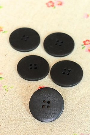 Photo1: Natural Wooden Button Set - 5p