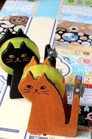 Photo1: Kawaii Wooden MIRANDA Cat Tape Dispenser