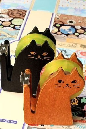 Photo2: Kawaii Wooden MIRANDA Cat Tape Dispenser
