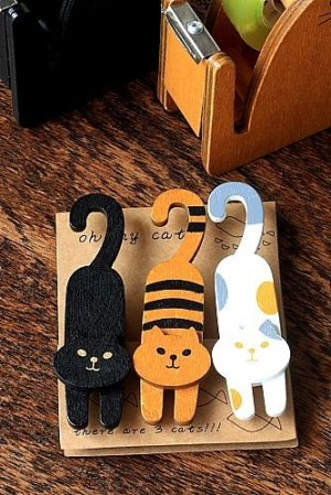 Photo1: Kawaii Wooden Clip - Cat