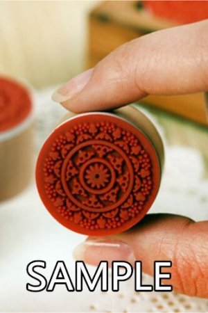 Photo3: Retro Round Lace Pattern Wooden Rubber Stamp