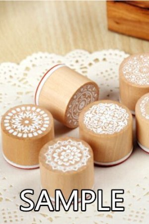 Photo2: Retro Round Lace Pattern Wooden Rubber Stamp