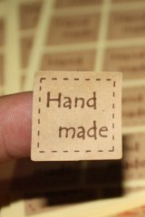 SALE - 100pcs square pre-printed HANDMADE kraft brown labels