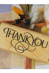 Super Cute Wooden Rubber Stamp - Thank You