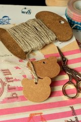 Kraft paper custom tags gift tags product tags Handmade tags DIY tags - Bear (2 size)