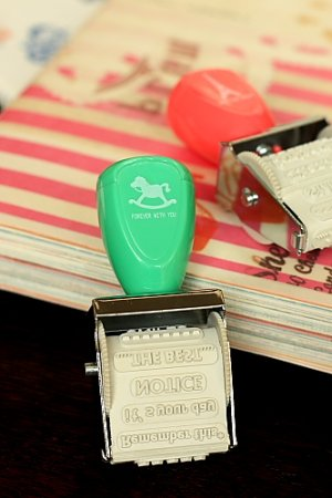 Photo1: Cute Wooden Roller Message Words Stamp