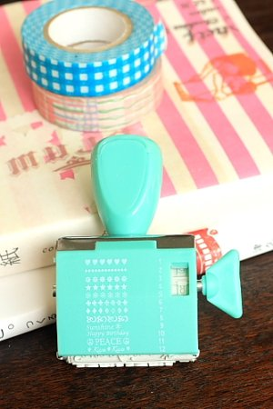 Photo1: Cute Roller Message Patterns Stamp