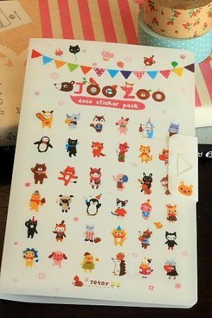 Photo1: Kawaii Jetoy Planner Sticker Pack with Folder - Joo Zoo -  8 sheets