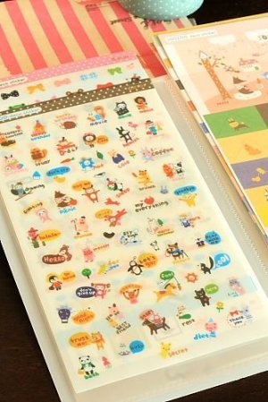 Photo2: Kawaii Jetoy Planner Sticker Pack with Folder - Joo Zoo -  8 sheets