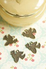 SALE-Antique Style Bronze Charms - Bird