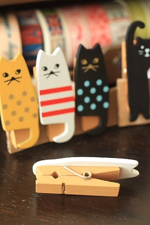 Photo3: Kawaii Wooden Clip - Little Cats