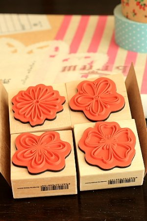 Photo3: SALE - Lovely Wood Stamp Set  - Flowers