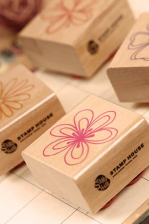 Photo1: Lovely Wood Stamp Set  - Flowers