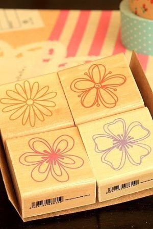 Photo2: SALE - Lovely Wood Stamp Set  - Flowers