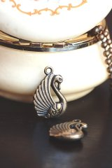 SALE-Antique Style Bronze Charms - Swan