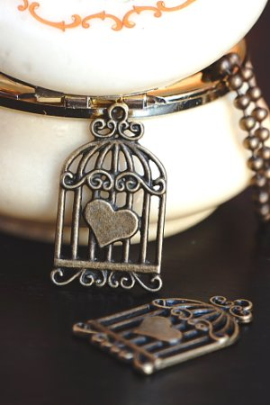 Photo1: SALE-Antique Style Bronze Charms - Bird Cage wit Heart
