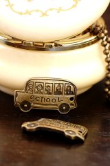 SALE - Antique Style Bronze Charms - School Bus