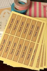 SALE - 60pcs square pre-printed HANDMADE kraft brown labels
