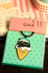 SALE - Cute Key Chain - Cats Ice Cream