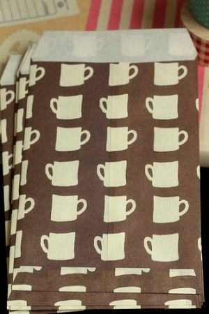 Photo2: Japanese Designer Graphics Paper Wrapping Snack Bag - Coffee Cups
