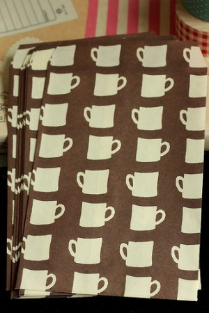 Photo1: Japanese Designer Graphics Paper Wrapping Snack Bag - Coffee Cups
