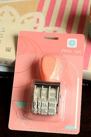 Photo1: Cute Roller Message Patterns Stamp - Year/Month/Date