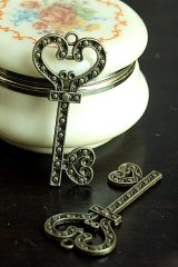 SALE - Antique Style Bronze Charms - Key