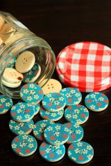 Kawaii Colorful Print Wooden Button - 5p