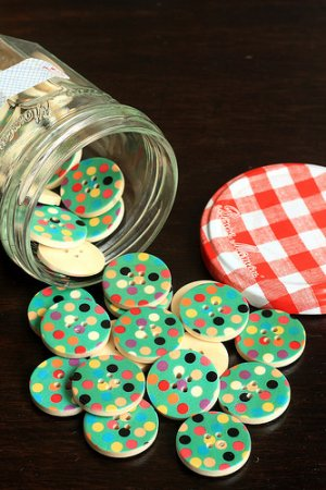 Photo1: Kawaii Colorful Print Wooden Button - 5p