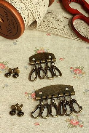 Photo1: Antique Style Bronze Key Ring Set with Rivet