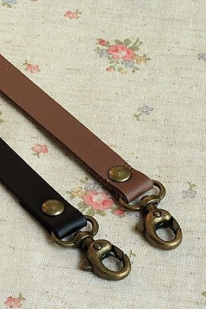 Photo3: Microfiber Leather Bag Handle with Two Lobster Claw Clasps